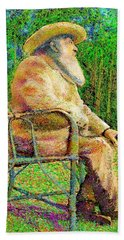Hand Towel featuring the painting Claude Monet In His Garden by Hidden Mountain