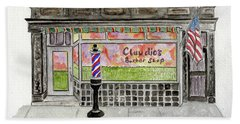 Claudio The Barber In East Harlem Bath Towel by Afinelyne