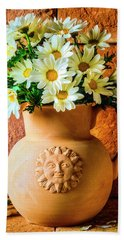 Clay Pitcher With Daises Hand Towel