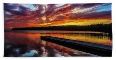 Clear Lake At Sunset. Riding Mountain National Park, Manitoba, Canada. Hand Towel