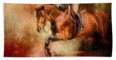 Clearing The Jump Equestrian Art Hand Towel