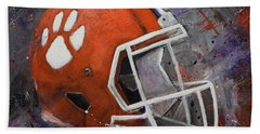 Bath Towel featuring the painting Clemson Tigers Football Helmet Original Painting by Gray Artus