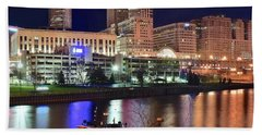 Bath Towel featuring the photograph Cleveland And Tug Boats by Frozen in Time Fine Art Photography