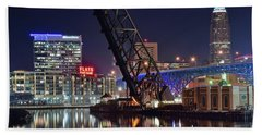 Hand Towel featuring the photograph Cleveland Flats East Bank by Frozen in Time Fine Art Photography