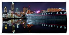 Cleveland Lakefront Pano Reflection Hand Towel