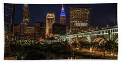 Cleveland Nightscape Hand Towel