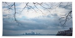 Cleveland Skyline With A Vintage Lens Hand Towel