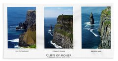 Cliffs Of Moher Ireland Triptych Bath Towel
