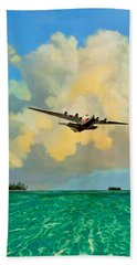 Hand Towel featuring the painting Clipper Over The Islands by David  Van Hulst
