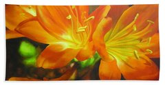 Bath Towel featuring the painting Clivias by Chris Hobel