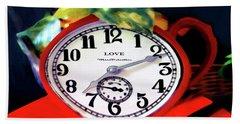Clock In The Garden Painting 3 Hand Towel