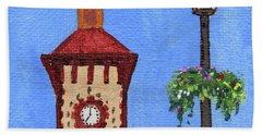 Clock Tower Impressionistic Landscape Xxxvii Bath Towel