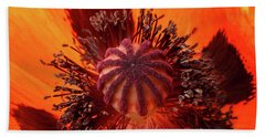 Close-up Bud Of A Red Poppy Flower Hand Towel