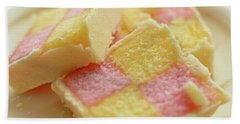 Close Up Of Battenberg Cake E Bath Towel