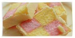 Close Up Of Battenberg Cake E Hand Towel