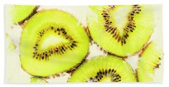 Close Up Of Kiwi Slices Bath Towel