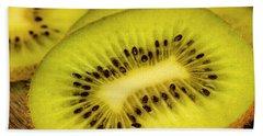 Close Up Of Kiwi Slices Bath Towel