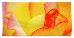 Close Up Of Yellow And Pink Rose Bath Towel
