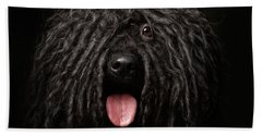 Close Up Portrait Of Puli Dog Isolated On Black Bath Towel