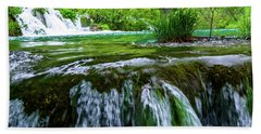 Close Up Waterfalls - Plitvice Lakes National Park, Croatia Bath Towel