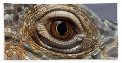 Closeup Eye Of Green Iguana Hand Towel