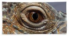 Closeup Eye Of Green Iguana Bath Towel by Sergey Taran