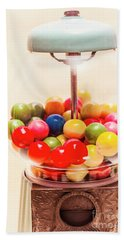 Closeup Of Colorful Gumballs In Candy Dispenser Bath Towel