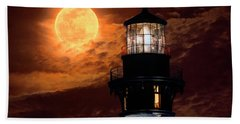 Closeup Of Full Moon Rising Over St Augustine Lighthouse Hand Towel