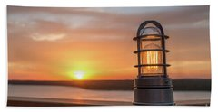 Closeup Of Light With Sunset In The Background Bath Towel