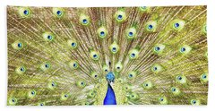 Closeup Of Peacock Displaying Train Bath Towel