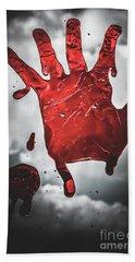Closeup Of Scary Bloody Hand Print On Glass Bath Towel