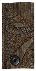 Closeup Of Sig Sauer Pistol Grip Bath Towel