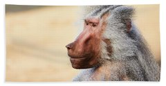 Bath Towel featuring the photograph Closeup Portrait Of A Male Baboon by Nick Biemans