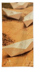 Closeup Toned Image Of Paper Boats On World Map Bath Towel