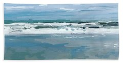Cloud Reflections With Surfer And Tanker  Bath Towel