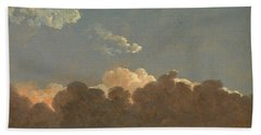 Hand Towel featuring the painting Cloud Study. Distant Storm by Simon Denis