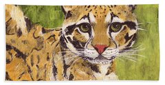 Bath Towel featuring the painting Clouded Cat by Jamie Frier