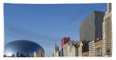Cloudgate Reflects Michigan Avenue  Hand Towel