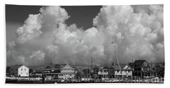 Clouds And Shore Houses Bath Towel by Mary Haber