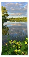Clouds Mirrored In Snug Harbor Hand Towel