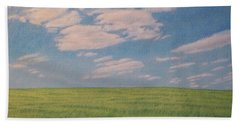 Clouds Over Green Field Hand Towel