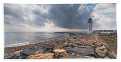 Clouds Over Old Scituate Light Bath Towel