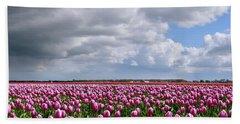 Clouds Over Purple Tulips Bath Towel