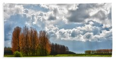 Bath Towel featuring the photograph Clouds Over Voorne by Frans Blok