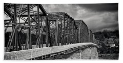 Clouds Over Walnut Street Bridge In Black And White Bath Towel