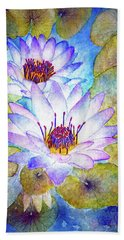 Cloudy Blue Lilies Hand Towel