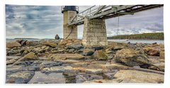 Hand Towel featuring the photograph Cloudy Day At Marshall Point by Rick Berk