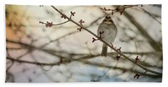 Bath Towel featuring the photograph Cloudy Finch by Trish Tritz