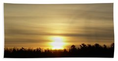 Hand Towel featuring the photograph Cloudy Golden Sky At Dawn by Kent Lorentzen