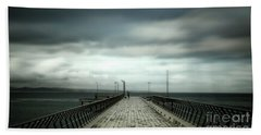 Bath Towel featuring the photograph Cloudy Pier by Perry Webster